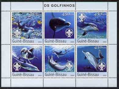 Guinea - Bissau 2003 Dolphins perf sheetlet containing 6 x 450 values (each with Scout Logo) unmounted mint  Mi 2584-89