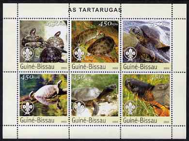 Guinea - Bissau 2003 Turtles perf sheetlet containing 6 x 450 values (each with Scout Logo) unmounted mint  Mi 2578-83
