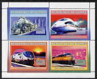 Guinea - Conakry 2006 American Trains perf sheetlet containing 4 values unmounted mint