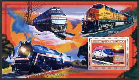 Guinea - Conakry 2006 American Trains perf s/sheet #3 containing 1 value (Amtrak 140) unmounted mint