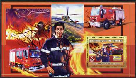 Guinea - Conakry 2006 European Fire Engines perf s/sheet #3 containing 1 value (French Peugeot) unmounted mint