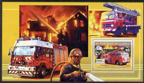 Guinea - Conakry 2006 European Fire Engines perf s/sheet #4 containing 1 value (English Dennis PAX11) unmounted mint , stamps on fire, stamps on