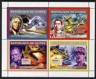 Guinea - Conakry 2006 Military Aircraft & Personalities perf sheetlet containing 4 values unmounted mint
