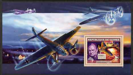 Guinea - Conakry 2006 Military Aircraft & Personalities perf s/sheet #3 containing 1 value (Churchill & Heinkel) unmounted mint
