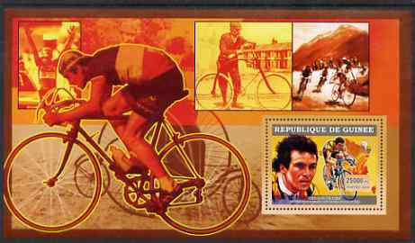 Guinea - Conakry 2006 Cycling perf s/sheet #4 containing 1 value (Bernard Hinault) unmounted mint