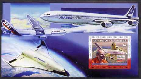 Guinea - Conakry 2006 Airbus A380 perf s/sheet #1 containing 1 value (Claude Lelaie Test Pilot) unmounted mint