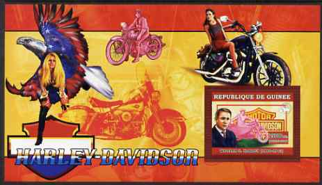 Guinea - Conakry 2006 Harley Davidson Motorcycles #1 - William S Harley perf s/sheet unmounted mint , stamps on motorbikes, stamps on personalities