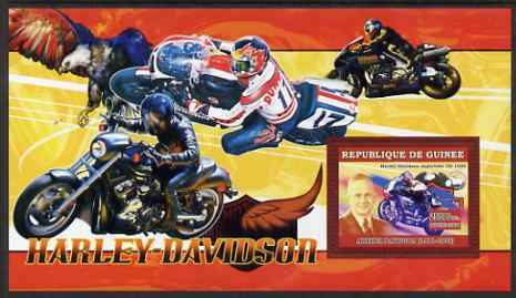 Guinea - Conakry 2006 Harley Davidson Motorcycles #2 - Arthur Davidson perf s/sheet unmounted mint