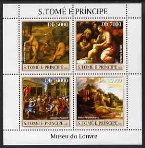 St Thomas & Prince Islands 2004 The Louvre Museum perf sheetlet containing 4 values unmounted mint, Mi 2527-30