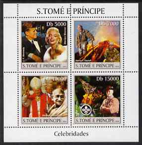St Thomas & Prince Islands 2004 Celebrities perf sheetlet containing 4 values (JFK, Marilyn, Pope, Gandhi & Baden Powell) unmounted mint, Mi 2511-14