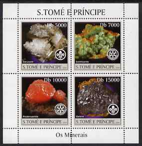 St Thomas & Prince Islands 2004 Minerals perf sheetlet containing 4 values (with Scout & Rotary Logos) unmounted mint, Mi 2483-86