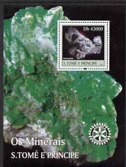 St Thomas & Prince Islands 2004 Minerals perf s/sheet containing 1 value with Rotary Logo unmounted mint  Mi BL 485