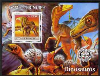St Thomas & Prince Islands 2004 Dinosaurs perf s/sheet containing 1 value with Rotary Logo unmounted mint  Mi BL 486