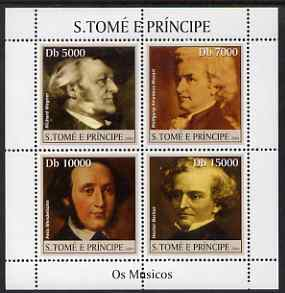 St Thomas & Prince Islands 2004 Classical Composers perf sheetlet containing 4 values unmounted mint, Mi 2503-06