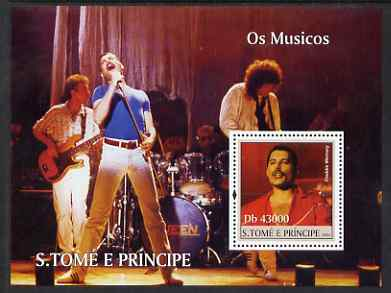 St Thomas & Prince Islands 2004 Freddie Mercury & Queen perf s/sheet containing 1 value unmounted mint  Mi BL 491