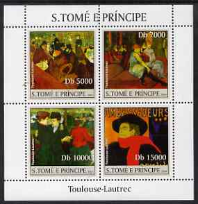 St Thomas & Prince Islands 2004 Toulouse-Lautrec perf sheetlet containing 4 values unmounted mint, Mi 2539-42