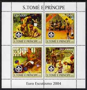 St Thomas & Prince Islands 2004 Scouts perf sheetlet containing 4 values unmounted mint, Mi 2479-82