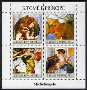 St Thomas & Prince Islands 2004 Art of Michelangelo perf sheetlet containing 4 values unmounted mint, Mi 2523-26