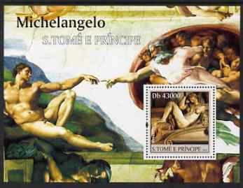 St Thomas & Prince Islands 2004 Art of Michelangelo perf s/sheet containing 1 value unmounted mint  Mi BL 493