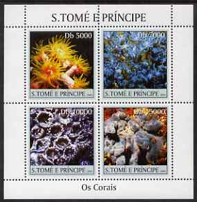 St Thomas & Prince Islands 2004 Coral perf sheetlet containing 4 values unmounted mint, Mi 2491-94