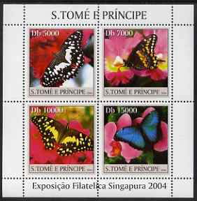 St Thomas & Prince Islands 2004 Butterflies & Orchids perf sheetlet containing 4 values unmounted mint, Mi 2603-06