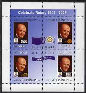 St Thomas & Prince Islands 2004 Centenary of Rotary International #1 perf sheetlet containing 4 values unmounted mint, Mi 2589-92