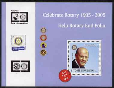 St Thomas & Prince Islands 2004 Centenary of Rotary International #1 perf s/sheet containing 1 value unmounted mint  Mi BL 506
