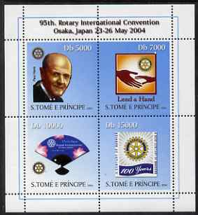 St Thomas & Prince Islands 2004 Centenary of Rotary International #2 perf sheetlet containing 4 values unmounted mint, Mi 2593-96