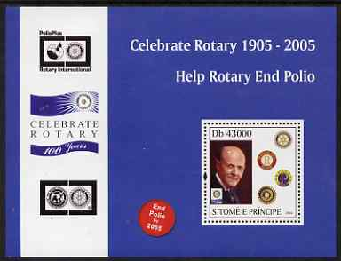 St Thomas & Prince Islands 2004 Centenary of Rotary International #2 perf s/sheet containing 1 value unmounted mint  Mi BL 507