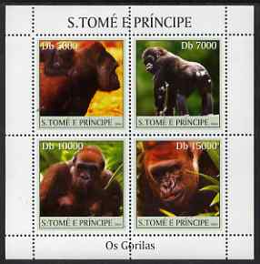 St Thomas & Prince Islands 2004 Gorillas perf sheetlet containing 4 values unmounted mint, Mi 2613-16