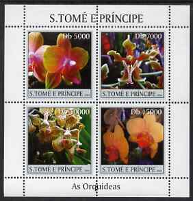 St Thomas & Prince Islands 2004 Orchids perf sheetlet containing 4 values unmounted mint, Mi 2579-82