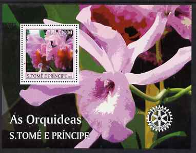 St Thomas & Prince Islands 2004 Orchids perf s/sheet containing 1 value with Rotary Logo unmounted mint  Mi BL 504