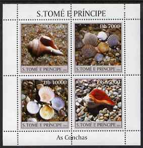 St Thomas & Prince Islands 2004 Shells perf sheetlet containing 4 values unmounted mint, Mi 2584-87
