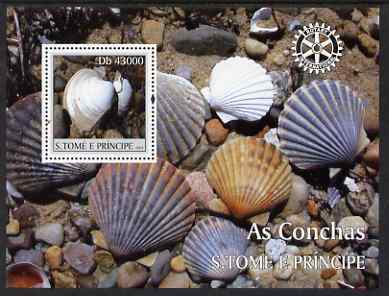 St Thomas & Prince Islands 2004 Shells perf s/sheet containing 1 value with Rotary Logo unmounted mint  Mi BL 505
