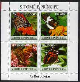 St Thomas & Prince Islands 2004 Butterflies perf sheetlet containing 4 values unmounted mint, Mi 2599-2602