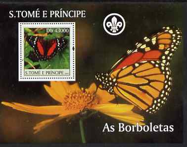 St Thomas & Prince Islands 2004 Butterflies perf s/sheet containing 1 value with Scout Logo unmounted mint  Mi BL 508