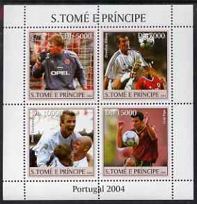 St Thomas & Prince Islands 2004 Football perf sheetlet containing 4 values unmounted mint, Mi 2569-72