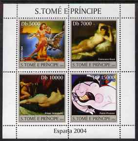 St Thomas & Prince Islands 2004 Spanish Paintings perf sheetlet containing 4 values unmounted mint, Mi 2559-62