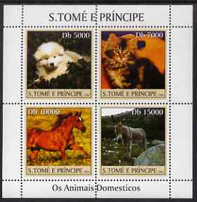 St Thomas & Prince Islands 2004 Domestic Animals perf sheetlet containing 4 values unmounted mint, Mi 2621-24