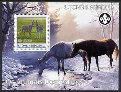 St Thomas & Prince Islands 2004 Domestic Animals perf s/sheet containing 1 value with Scout Logo unmounted mint  Mi BL 513
