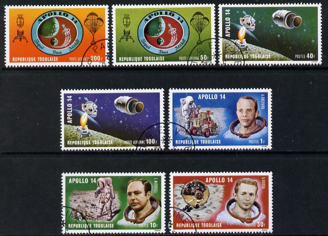 Togo 1971 Apollo 14 set of 7 cto used, SG 796-802*