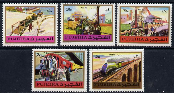 Fujeira 1971 Trains perf set of 5 unmounted mint, Mi 635-39A*