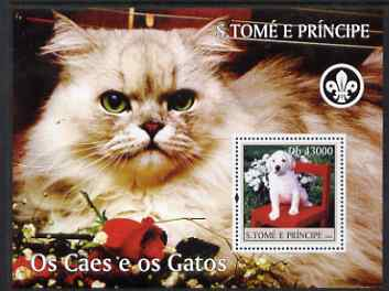 St Thomas & Prince Islands 2004 Cats & Dogs perf s/sheet containing 1 value with Scout Logo unmounted mint  Mi BL 512