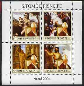 St Thomas & Prince Islands 2004 Christmas & Pope perf sheetlet containing 4 values unmounted mint, Mi 2659-62