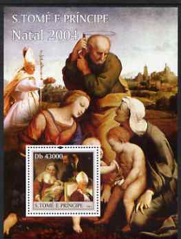 St Thomas & Prince Islands 2004 Christmas & Pope perf s/sheet containing 1 value unmounted mint  Mi BL 520