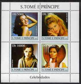St Thomas & Prince Islands 2004 Celebrities (Actresses) perf sheetlet containing 4 values unmounted mint, Mi 2653-56 (Marilyn, Brigette, Greta Garbo & Sophia Loren)