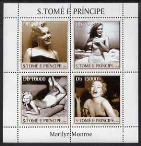 St Thomas & Prince Islands 2004 Marilyn Monroe perf sheetlet containing 4 values unmounted mint, Mi 2649-52