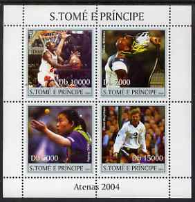 St Thomas & Prince Islands 2004 Athens Olympic Games perf sheetlet containing 4 values unmounted mint, Mi 2639-42