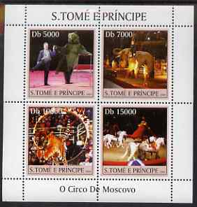 St Thomas & Prince Islands 2004 Moscow Circus perf sheetlet containing 4 values unmounted mint, Mi 2669-72