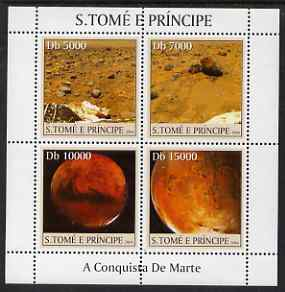 St Thomas & Prince Islands 2004 Conquest of Mars perf sheetlet containing 4 values unmounted mint, Mi 2644-47